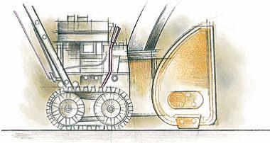 когда рычаг находиться в ближнем к оператору положении, ковш снегоуборщика поднимается и машину можно легко перемещать на большие расстояния, Чтобы упростить транспортировку, конструкторы Cub Cadet предусмотрели этот механизм переноса веса снегоуборочной машины. Гусеничный снегоуборщик нельзя катить если выключен двигатель – снегоуборочная машина способна передвигаться только своим ходом.