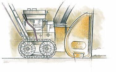 когда рычаг находиться в положении ближе к ковшу снегоуборщика, вес снегоуборочной машины перенесен вперед. Если снег слежался или заледенел, снегоуборочная машина зарывается ковшом и легче справляется с уборкой снега.